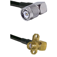 TNC Right Angle Male on LMR240 Ultra Flex to SMA 2 Hole Right Angle Female Cable Assembly