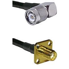 TNC Right Angle Male Connector On LMR-240UF UltraFlex To SMA 4 Hole Female Connector Coaxial Cable A