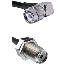 Right Angle TNC Male To UHF Female Bulk Head Connectors LMR240UF Ultra Flex Custom Coaxial Cab