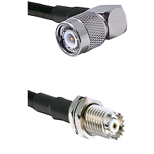 TNC Right Angle Male on RG142 to Mini-UHF Female Cable Assembly