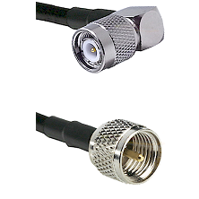 TNC Right Angle Male on RG142 to Mini-UHF Male Cable Assembly