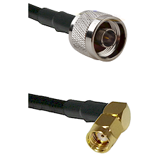 N Reverse Thread Male on LMR100 to SMA Reverse Polarity Right Angle Male Cable Assembly