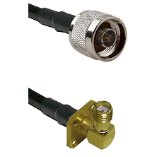 N Reverse Thread Male on LMR240 Ultra Flex to SMA 4 Hole Right Angle Female Cable Assembly