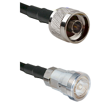N Reverse Thread Male on RG142 to 7/16 Din Female Cable Assembly
