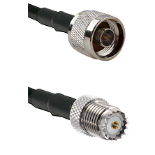 N Reverse Thread Male on RG142 to Mini-UHF Female Cable Assembly