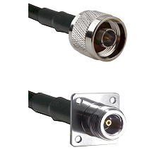 N Reverse Thread Male on RG142 to N 4 Hole Female Cable Assembly