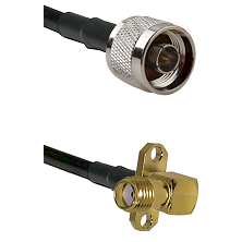 N Reverse Thread Male on RG188 to SMA 2 Hole Right Angle Female Cable Assembly