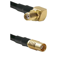 SMA Reverse Thread Right Angle Female Bulkhead on LMR100 to MCX Female Cable Assembly