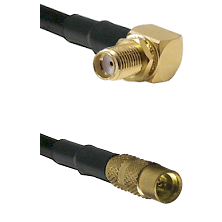 SMA Reverse Thread Right Angle Female Bulkhead on LMR100 to MMCX Female Cable Assembly