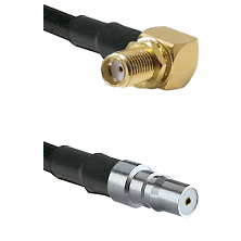 SMA Reverse Thread Right Angle Female Bulkhead on LMR100 to QMA Female Cable Assembly