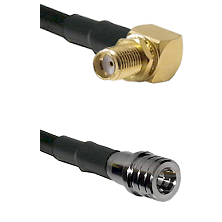 SMA Reverse Thread Right Angle Female Bulkhead on LMR100 to QMA Male Cable Assembly
