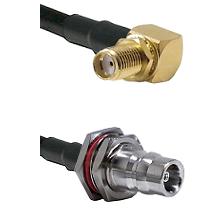 SMA Reverse Thread Right Angle Female Bulkhead on LMR100 to QN Female Bulkhead Coaxial Cable Assembl