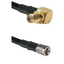 SMA Reverse Thread Right Angle Female Bulkhead on LMR-195-UF UltraFlex to 10/23 Male Coaxial Cable