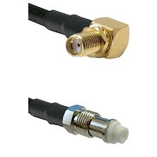 SMA Reverse Thread Right Angle Female Bulkhead on LMR-195-UF UltraFlex to FME Female Coaxial Cable A