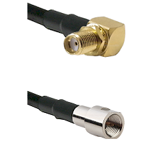 SMA Reverse Thread Right Angle Female Bulkhead on LMR-195-UF UltraFlex to FME Male Coaxial Cable Ass