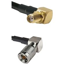 SMA Reverse Thread Right Angle Female Bulkhead on LMR-195-UF UltraFlex to 10/23 Right Angle Male C