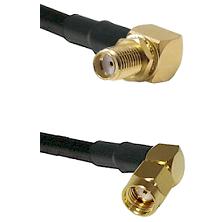 SMA Reverse Thread Right Angle Female Bulkhead on LMR-195-UF UltraFlex to SMA Reverse Polarity Right