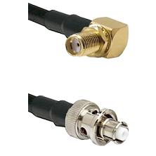SMA Reverse Thread Right Angle Female Bulkhead on LMR-195-UF UltraFlex to SHV Plug Coaxial Cable Ass
