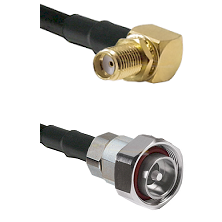 SMA Reverse Thread Right Angle Female Bulkhead on LMR200 UltraFlex to 7/16 Din Male Coaxial Cable As