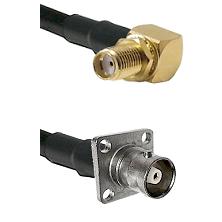 SMA Reverse Thread Right Angle Female Bulkhead on LMR200 UltraFlex to C 4 Hole Female Coaxial Cable