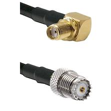 SMA Reverse Thread Right Angle Female Bulkhead on LMR200 UltraFlex to Mini-UHF Female Coaxial Cable
