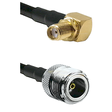 SMA Reverse Thread Right Angle Female Bulkhead on LMR200 UltraFlex to N Female Coaxial Cable Assembl