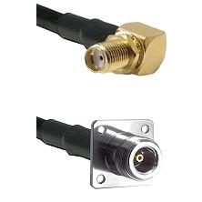 SMA Reverse Thread Right Angle Female Bulkhead on LMR200 UltraFlex to N 4 Hole Female Coaxial Cable