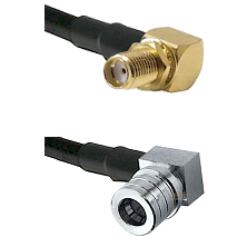 SMA Reverse Thread Right Angle Female Bulkhead Connector On LMR-240UF UltraFlex To QMA Right Angle M