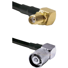 SMA Reverse Thread Right Angle Female Bulkhead Connector On LMR-240UF UltraFlex To SC Right Angle Ma