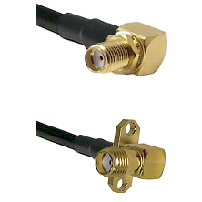 SMA Reverse Thread Right Angle Female Bulkhead Connector On LMR-240UF UltraFlex To SMA 2 Hole Right