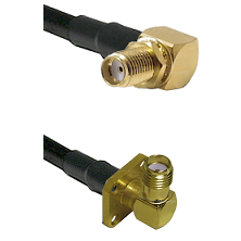 SMA Reverse Thread Right Angle Female Bulkhead Connector On LMR-240UF UltraFlex To SMA 4 Hole Right