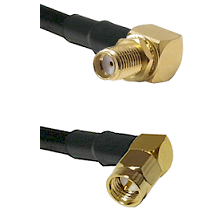 SMA Reverse Thread Right Angle Female Bulkhead Connector On LMR-240UF UltraFlex To SMA Right Angle M