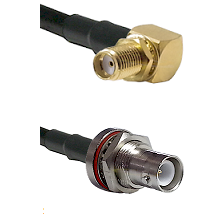 SMA Reverse Thread Right Angle Female Bulkhead Connector On LMR-240UF UltraFlex To SHV Bulkhead Jack