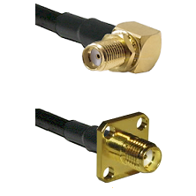 SMA Reverse Thread Right Angle Female Bulkhead Connector On LMR-240UF UltraFlex To SMA 4 Hole Female