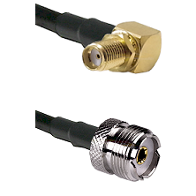 SMA Reverse Thread Right Angle Female Bulkhead Connector On LMR-240UF UltraFlex To UHF Female Connec
