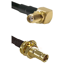 SMA Reverse Thread Right Angle Female Bulkhead on RG142 to 10/23 Female Bulkhead Coaxial Cable Ass