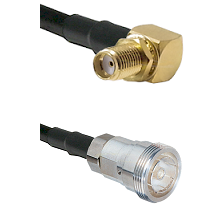 SMA Reverse Thread Right Angle Female Bulkhead on RG142 to 7/16 Din Female Cable Assembly