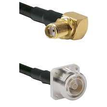 SMA Reverse Thread Right Angle Female Bulkhead on RG142 to 7/16 4 Hole Female Cable Assembly