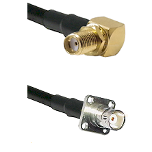 SMA Reverse Thread Right Angle Female Bulkhead on RG142 to BNC 4 Hole Female Cable Assembly