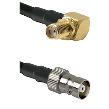 SMA Reverse Thread Right Angle Female Bulkhead on RG142 to C Female Cable Assembly