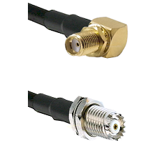 SMA Reverse Thread Right Angle Female Bulkhead on RG142 to Mini-UHF Female Cable Assembly