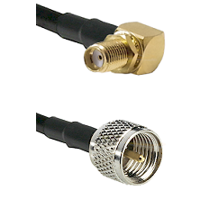 SMA Reverse Thread Right Angle Female Bulkhead on RG142 to Mini-UHF Male Cable Assembly