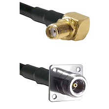 SMA Reverse Thread Right Angle Female Bulkhead on RG58C/U to N 4 Hole Female Cable Assembly