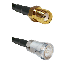 SMA Reverse Thread Female on Belden 83242 RG142 to 7/16 Din Female Cable Assembly