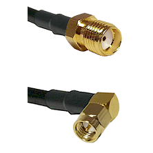 SMA Reverse Thread Female on Belden 83242 RG142 to SMB Right Angle Male Cable Assembly