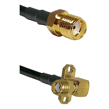 SMA Reverse Thread Female Connector On LMR-240UF UltraFlex To SMA 2 Hole Right Angle Female Connecto