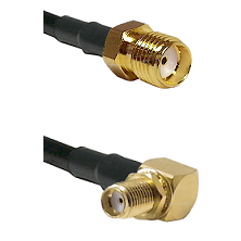 SMA Reverse Thread Female Connector On LMR-240UF UltraFlex To SMA Reverse Thread Right Angle Female