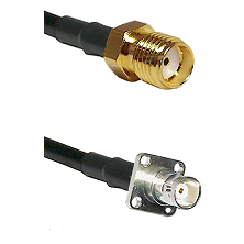 SMA Reverse Thread Female on RG142 to BNC 4 Hole Female Cable Assembly