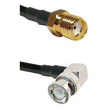 SMA Reverse Thread Female on RG223 to BNC Right Angle Male Cable Assembly