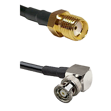 SMA Reverse Thread Female on RG400 to BNC Reverse Polarity Right Angle Male Cable Assembly